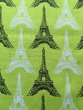 RPE576 Neon Lime Retro Eiffel Tower Paris French Style Cotton Quilting Fabric