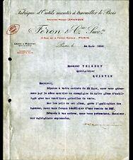 """PARIS (XI°) USINE de MONTRY (77) OUTILS à bois """"LEMAINQUE / FERON Succ"""" en 1919"""