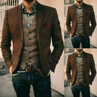 Vintage Mens Brown Herringbone Woolen Suits Blazer Lapel Coats Tailored Slim Fit