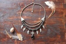 Stunning Handmade 3Layer Hematite Leaf Feather Silver Bead &Glass Charm Necklace