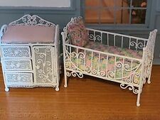 DOLLHOUSE MINIATURE SWEET METAL WICKER CRIB AND DRESSING TABLE