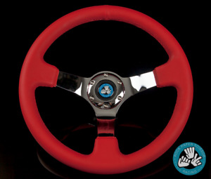 "14"" PU LEATHER CAROL RED DEEP STEERING WHEEL CHROME SPOKES 6 BOLT HORN BUTTON"