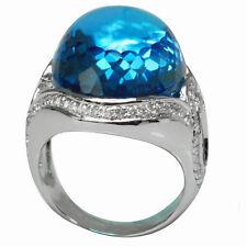 De Buman 18k White Gold 33.90ctw Genuine Swiss Blue Topaz & Diamond Ring, Size 7