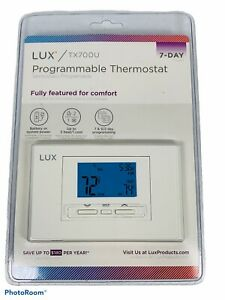 🔥 Lux • 7 Day Programmable Heat & Cool Thermostat • TX700U • New