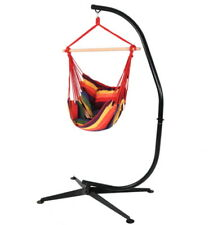 Hanging Hammock Chair Swing and C-Stand Set with Seat Cushions in Sunset