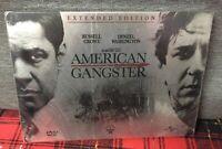 American Gangster 2 DVD NEW Crowe Washington Metal Tin Box Special Steel Edition
