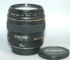 Canon EF 100mm f2 USM Ultrasonic lens for DSLR camera - Nice Mint