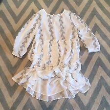 S New ANTHROPOLOGIE Women's Feather White Boho Ruffle Cotton Summer Dress SMALL