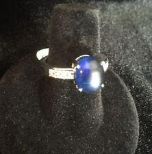 womens fashion ring .925 SS blue cabachon and CZ sz 7