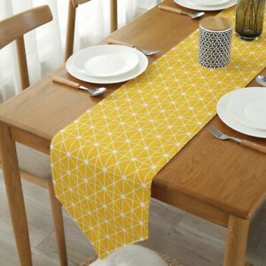 Table Runner Large Long Tablecloth Party Room Dining Table Decor Cotton Linen 'F