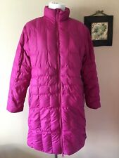 Lands End Long Above Knee Length Down Filled Quilted Coat Medium 10/12 Fuchsia