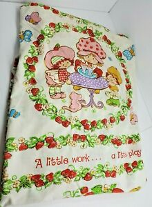 Strawberry ShortcakeJCPenney Twin Fitted Sheet and Pillowcase Vintage 80s Fabric