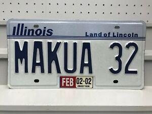 2002 Illinois Vanity License Plate MAKUA 32 Beach Oahu Hawaii