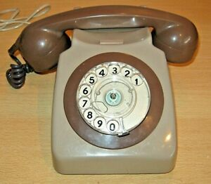 Vintage TELEPHONE Two-Tone Grey / Brown  - Rotary Dial OLD Working