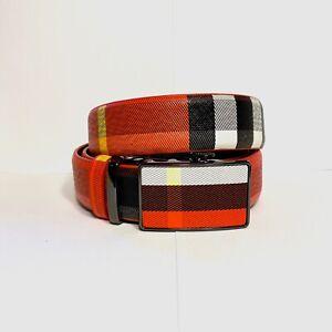 Mens Kavali Adjustable Ratchet Belt Red Yellow White Black Plaid Checker Pattern