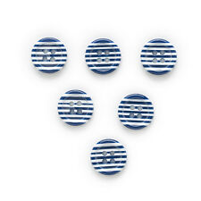 30pcs Blue Stripe Resin Buttons Sewing Scrapbooking Home Clothing Decor 11mm