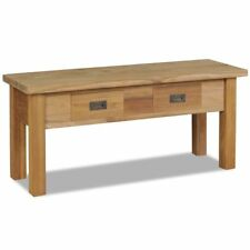 Storage Bench Solid Teak Wood Hallway Living Room Wooden Seater 2 Drawers Porch
