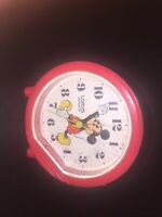 Vintage Mickey Mouse Lorus Quartz Battery Alarm Clock Red Plastic Japan 3.5""
