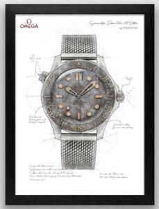 Omega Seamaster 007 No Time To Die drawing illustration artwork - Print