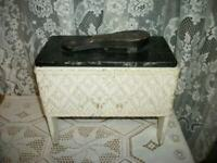 ANTIQUE WICKER SHOE SHINE BOX BLACK MARBLEIZED VINYL WOOD 1920's EXCEPTIONAL