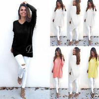 Women Loose Long Sleeve Knitwear Sweater Thin Jumper Shirt Coat Jacket Pullover