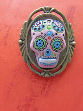 GOTH / Day of the DeadHandamadep PINK  Sugar SKULL CAMEO BP BROOCH/PIN /Tie Tack