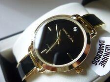 New Anne Klein AK/2422BKGB Diamond Black Face Enamel Gold Tone Women' Watch