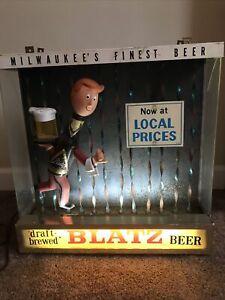 Vintage Antique Scarce  Blatz Beer Running Waiter Waterfall Beer Light Rare