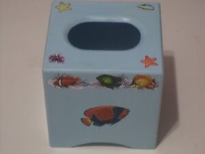Sky Mist Blue Wooden Tissue Box Cover With Fish And Shells