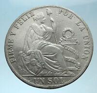 1892 PERU South America 1 SOL Antique BIG Original Silver Peruvian Coin i78219