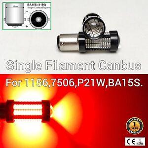 Brake Light 1156 BA15S 7506 3497 P21W 108 SMD Red LED Bulb M1 MAR