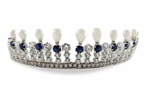 Lab Created Sapphire White Gold Plated Diamond & Cultured Pearl Fringe Tiara