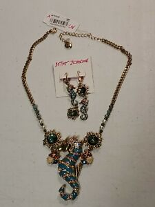 Betsey Johnson Large Seahorse Necklace and Earing Set