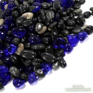 Gem Ocean | black & grey pebbles with small dark blue glass nuggets 4-8mm 150g
