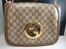 Auth Rare Vintage Gucci Blondie GG Monogram, Brown Leather & Canvas Shoulder Bag