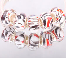 NEW 5pcs SILVER MURANO bead LAMPWORK fit European Charm Bracelet DIY #B04