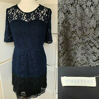 Whistles Navy & Black Fit & Flare Dress Size 12 Lace Floral