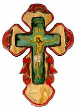 Handmade Wooden Greek Orthodox Aged Icon Painting Canvas Cross Crucifix M58