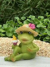 Miniature Dollhouse Fairy Garden Figurine ~ Mini Beach Frog Vacation Ice Cream