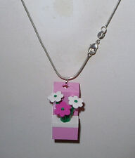 LEGO BRICK BLOCK PINK/ FLOWERS  NECKLACE GIRL SILVER CHAIN- FLOWER BOX NECKLACE
