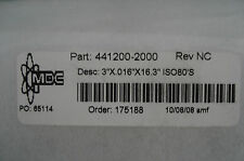 NEW MDC 441200-2000 REV. NC 3''X.016X16.3'' ISO80'S FITTING