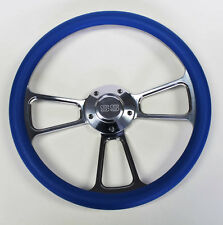 """Steering Wheel Sky Blue and Billet Fits Ididit & Flaming River Column 14"""" SS Cap"""