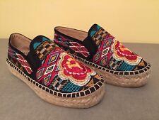 Johnny Was Black Aldorna Embroidery Espadrille Slip On  Shoe EUR 37/6.5 Ret 278