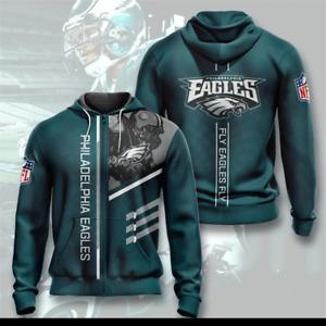 Philadelphia Eagles Hoodie Football Hooded Sweatshirt Fans Casual Zipper Jacket