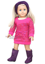 PINK KNIT SWEATER DRESS + HB + BOOTS girl clothes for 18 inch American Doll