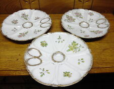 "3 Porcelain Oyster Plates - 9 3/4"" - Marked With Number 87"