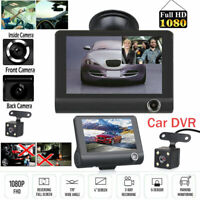 "1080P 4""Car DVR Dual Lens Dash Cam Front and G-sensor Rear Video Recorder Camera"