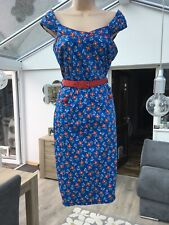 JOE BROWNS Vintage / 50's Style Red / White / Blue Floral Belted Dress Size 12