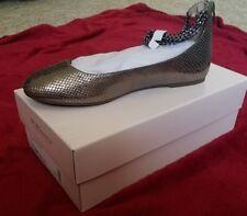 BCBG Gina Flats ankle strap Gold Brown Snake print 8.5 B NEW cute!!