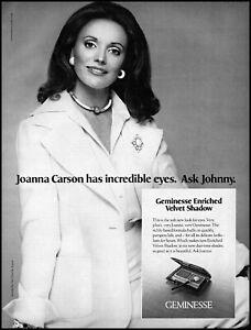 1974 Joanna Carson (Johnny's wife) Geminesse eye shadow retro photo print ad  L3